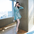 Dress Autumn 2020 Black Lake Blue S M L XL Short skirt singleton  Long sleeves commute V-neck High waist Solid color A-line skirt routine Others 25-29 years old Melina Korean version A2568 More than 95% polyester fiber Polyester 100% Pure e-commerce (online only)