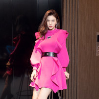 Dress Winter 2020 Red - with belt S M L XL Short skirt singleton  Long sleeves commute Crew neck High waist Solid color zipper routine Others 25-29 years old Type A Melina Lotus leaf edge A59026 More than 95% polyester fiber Polyester 100% Pure e-commerce (online only)