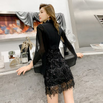 Dress / evening wear Weddings, adulthood parties, company annual meetings, daily appointments S M L XL XXL black Korean version Middle-skirt middle-waisted Winter of 2019 Short buttocks Deep collar V zipper 26-35 years old A2284 Nail bead Solid color Melina Lotus leaf sleeve Polyester 100%