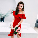 Dress Summer of 2018 Red Black Lake Blue S M L XL Mid length dress singleton  Sleeveless commute One word collar High waist Solid color zipper Irregular skirt Lotus leaf sleeve Breast wrapping 18-24 years old Melina Korean version Asymmetric Ruffle MXN00041 More than 95% other polyester fiber