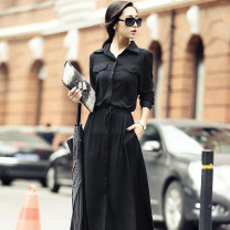 Dress Spring 2017 black S M L XL longuette singleton  Long sleeves commute stand collar High waist Solid color Single breasted Irregular skirt routine Others 25-29 years old Melina Korean version Pleated pocket lace up for three dimensional decoration M67043 More than 95% other Viscose (viscose) 100%