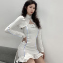 Dress Autumn 2020 white S,M,L Short skirt Two piece set Long sleeves High collar Decor One pace skirt routine camisole 18-24 years old Type H NIBBER K20S08913 81% (inclusive) - 90% (inclusive) polyester fiber