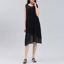 Dress Summer 2021 black Average size Mid length dress singleton  Sleeveless commute Crew neck Loose waist Solid color Socket A-line skirt Type A CHSSNIKE Korean version cotton