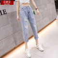 Jeans Summer 2020 XXL S M L XL Ninth pants High waist Haren pants Thin money 18-24 years old Thin denim light colour 71% (inclusive) - 80% (inclusive) Exclusive payment of tmall