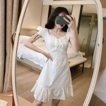 Dress Summer 2021 white S,M,L Middle-skirt singleton  Long sleeves Sweet square neck High waist Solid color Socket A-line skirt routine Others 18-24 years old Type A Other / other Lace 83121# 71% (inclusive) - 80% (inclusive) knitting cotton princess