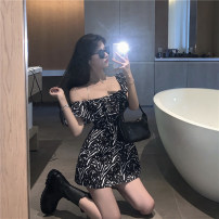Dress Summer 2021 Black and white skirt S, M Short skirt singleton  Short sleeve commute One word collar High waist other Socket A-line skirt Lotus leaf sleeve Others 18-24 years old Type A Korean version A3087 31% (inclusive) - 50% (inclusive) other other