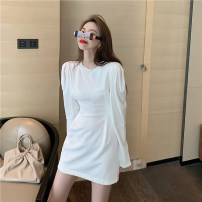 Dress Autumn 2021 White, gray Average size Short skirt singleton  Long sleeves commute Crew neck High waist Solid color Socket A-line skirt routine Others 25-29 years old Type A Korean version B40 More than 95% other