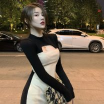 Dress Winter 2021 Picture color S, M Short skirt singleton  Long sleeves commute Crew neck High waist Solid color Socket other routine Others 18-24 years old Type H Korean version More than 95%