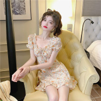 Dress Summer 2021 S, M Short skirt singleton  Short sleeve commute square neck High waist Broken flowers Socket A-line skirt puff sleeve Others 18-24 years old Type A Korean version 31% (inclusive) - 50% (inclusive) other other