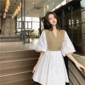Dress Summer 2021 Khaki with white S,M,L Short skirt Fake two pieces Short sleeve commute V-neck High waist Solid color Socket A-line skirt puff sleeve Others 18-24 years old Type A Korean version 31% (inclusive) - 50% (inclusive) other other