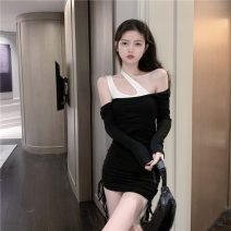 Dress Spring 2021 Picture color Average size Short skirt Fake two pieces Long sleeves commute other High waist Solid color Socket One pace skirt routine Hanging neck style 18-24 years old Type H Korean version More than 95% other other
