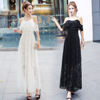 Dress Summer of 2018 white Average size longuette singleton  Short sleeve street One word collar High waist Solid color zipper Big swing routine camisole 18-24 years old Other / other Hollowed out, open back, Gouhua hollowed out, zipper, lace 81% (inclusive) - 90% (inclusive) Lace polyester fiber