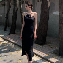 Dress Spring 2021 black S,M,L Mid length dress singleton  Sleeveless commute High waist Solid color Socket other camisole 18-24 years old Type H Korean version Splicing