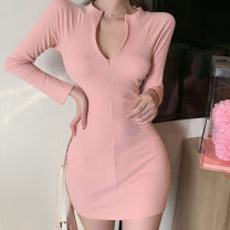 Dress Spring 2021 Grey, black, pink S,M,L Short skirt singleton  Long sleeves commute Crew neck High waist Solid color Socket One pace skirt routine Others 18-24 years old Type H Korean version