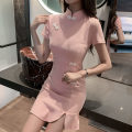 Dress Spring 2021 Pink S,M,L Short skirt singleton  Short sleeve commute stand collar High waist Solid color Socket A-line skirt routine Others 18-24 years old T-type Korean version zipper