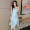 Dress Summer 2021 White, black S,M,L Middle-skirt singleton  Sleeveless commute V-neck High waist Solid color zipper other camisole 18-24 years old Type H Korean version backless