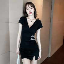 Dress Summer 2021 black S,M,L Short skirt singleton  Short sleeve commute V-neck High waist Solid color Socket One pace skirt routine Others 18-24 years old T-type Korean version bow cotton