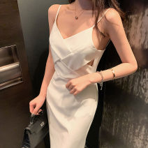 Dress Summer 2020 white S,M,L Middle-skirt singleton  Sleeveless commute V-neck High waist Solid color zipper other camisole 18-24 years old Type H Korean version Hollowing out