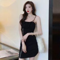 Dress Summer 2021 black S,M,L,XL Short skirt singleton  Sleeveless commute One word collar High waist Solid color Socket A-line skirt camisole 18-24 years old Type H Korean version Open back, fold, zipper 71% (inclusive) - 80% (inclusive) knitting cotton
