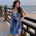 Dress Summer 2021 blue S, M Short skirt singleton  Sleeveless commute Dangling collar High waist Solid color Socket A-line skirt camisole 18-24 years old Type A Other / other Korean version backless