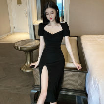 Dress Spring 2021 black S, M Middle-skirt singleton  Short sleeve commute square neck High waist Solid color Socket A-line skirt puff sleeve Others 18-24 years old T-type Korean version fold 31% (inclusive) - 50% (inclusive) cotton