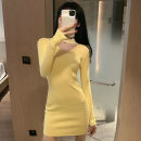 Dress Autumn 2020 Orange, yellow, black Average size Short skirt singleton  Long sleeves commute V-neck High waist Solid color Socket One pace skirt routine Others 18-24 years old Type H Korean version Hollowing out