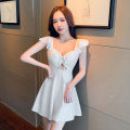 Dress Spring 2021 S,M,L,XL Short skirt singleton  Sleeveless commute V-neck High waist Solid color Socket Big swing Flying sleeve Others 18-24 years old Type A Korean version Hollowing out 30% and below brocade cotton