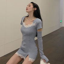 Dress Summer 2021 Haze blue, dark black S,M,L Short skirt singleton  Short sleeve commute square neck High waist Solid color Socket One pace skirt routine Others 18-24 years old T-type Retro Stitching, lace