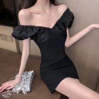 Dress Summer 2020 black S,M,L Short skirt singleton  Short sleeve commute V-neck High waist Solid color zipper One pace skirt other Others 18-24 years old T-type