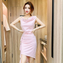 Dress Spring 2021 Pink, Burgundy, black S,M,L Short skirt singleton  Sleeveless commute V-neck High waist Decor Socket routine Others 18-24 years old Type H Korean version 30% and below brocade cotton
