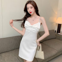 Dress Summer 2021 White, black S,M,L Middle-skirt singleton  Sleeveless commute V-neck middle-waisted Solid color zipper One pace skirt camisole 18-24 years old Type H Korean version polyester fiber