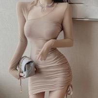 Dress Winter 2020 Khaki, black Average size Short skirt singleton  Long sleeves commute V-neck High waist Solid color Socket One pace skirt routine Others 18-24 years old Type H Korean version Splicing
