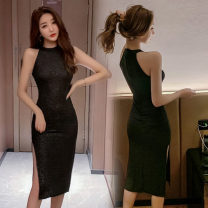 Dress Summer of 2019 Black grey S,M,L Middle-skirt singleton  Sleeveless commute Crew neck middle-waisted Solid color Socket other Hanging neck style 18-24 years old Type H Other / other Korean version