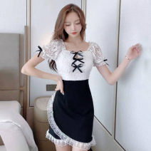 Dress Spring 2021 black S,M,L Short skirt singleton  Short sleeve commute One word collar High waist Solid color Socket One pace skirt puff sleeve Others 18-24 years old T-type Korean version Stitching, lace 30% and below brocade cotton