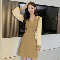 Dress Autumn 2020 Black, army green S,M,L,XL Short skirt singleton  Long sleeves commute V-neck High waist Solid color Socket A-line skirt routine Others 18-24 years old Type A Korean version Splicing