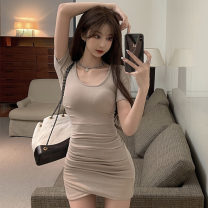 Dress Summer 2021 Apricot, pink Average size Short skirt singleton  Short sleeve commute Crew neck High waist Solid color Socket One pace skirt routine Others 18-24 years old T-type Korean version Splicing 51% (inclusive) - 70% (inclusive)