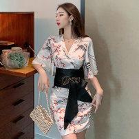 Dress Spring 2021 white S,M,L,XL Short skirt singleton  elbow sleeve Sweet V-neck High waist Decor Socket One pace skirt pagoda sleeve Others 18-24 years old T-type fold solar system