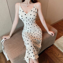 Dress Summer 2021 Apricot S,M,L Middle-skirt singleton  Sleeveless commute V-neck High waist Decor zipper other camisole 18-24 years old Type H Korean version Flocking 91% (inclusive) - 95% (inclusive) polyester fiber