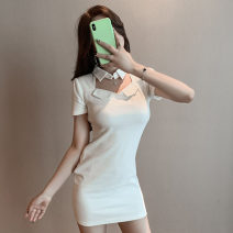 Dress Spring 2021 white S,M,L Short skirt singleton  Short sleeve commute Polo collar High waist Solid color Socket One pace skirt routine Others 18-24 years old T-type Korean version Splicing knitting polyester fiber
