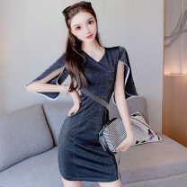 Dress Spring 2021 Black, light pink S,M,L Short skirt singleton  elbow sleeve commute V-neck High waist Solid color zipper One pace skirt other Others 18-24 years old Type H Korean version 91% (inclusive) - 95% (inclusive) other polyester fiber