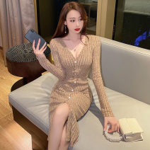 Dress Autumn 2020 Khaki, flower grey S,M,L Mid length dress singleton  Long sleeves commute V-neck High waist other Socket One pace skirt routine Others 18-24 years old Type H Korean version Button, thread polyester fiber