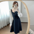 Dress Autumn 2020 Blue, black S,M,L,XL Middle-skirt singleton  Long sleeves commute High waist Solid color Socket A-line skirt pagoda sleeve Others 18-24 years old Type A Korean version Splicing