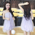 Dress Summer of 2018 violet Average size Short skirt singleton  Sleeveless Sweet One word collar Loose waist Solid color Socket other camisole 18-24 years old Other / other Auricularia auricula, splicing, gauze net Mori