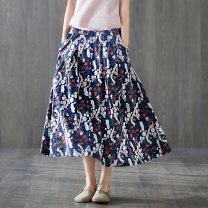 skirt Spring 2021 M,L,XL Navy, Navy, bean green, caramel Mid length dress commute High waist A-line skirt Decor Type A 30-34 years old More than 95% other Plain white clothes cotton Pleats, pockets, thread embellishment, stitching, printing literature