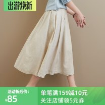 skirt Spring 2021 M,L,XL Beige Mid length dress commute Natural waist A-line skirt Solid color Type A 30-34 years old 31% (inclusive) - 50% (inclusive) other Plain white clothes hemp Pleats, pockets, decorative stitching literature 121g / m ^ 2 (including) - 140g / m ^ 2 (including)