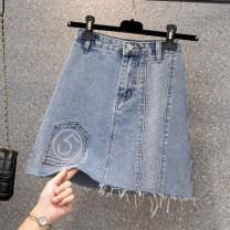 skirt Summer 2021 L,XL,2XL,3XL,4XL blue Short skirt commute High waist A-line skirt Solid color Type A 18-24 years old Denim cotton pocket