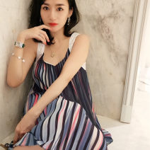 Dress Summer 2020 Spot (within 3 days) M,XS,S,L Short skirt singleton  Sleeveless Sweet V-neck Loose waist stripe other A-line skirt other camisole 25-29 years old Type A Chen Liyu Fold, nail bead 18LDQ07P 31% (inclusive) - 50% (inclusive) Chiffon polyester fiber