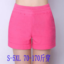 Casual pants White, black, rose red, sky blue, orange red, fruit green S,M,L,XL,2XL,3XL,4XL,5XL Summer 2020 shorts Wide leg pants Natural waist commute Thin money 25-29 years old 5032 days pocket cotton