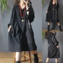 Dress Autumn 2020 Black stitching Average size Mid length dress singleton  Long sleeves commute Hood Loose waist lattice Socket A-line skirt Sleeve Type A Retro pocket