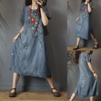 Dress Summer of 2019 Denim blue Average size Mid length dress Short sleeve